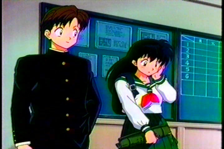 Kagome with a guy who has a crush on her at school